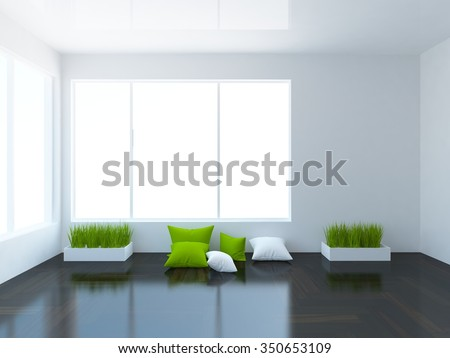 3D rendering of a white empty interior with pillows and grass