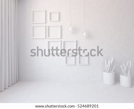 3d rendering of a white empty interior with vases