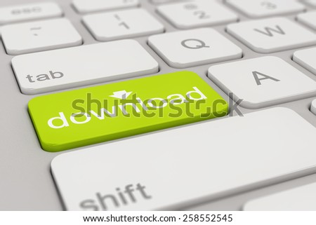 3d rendering of a white keyboard with green download button, web concept. - stock photo