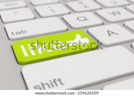 3d rendering of a white keyboard with green social media like button, business concept.  - stock photo