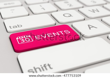 3d rendering of a white keyboard with magenta events button, web concept.