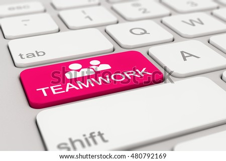 3d rendering of a white keyboard with magenta teamwork button, business concept.