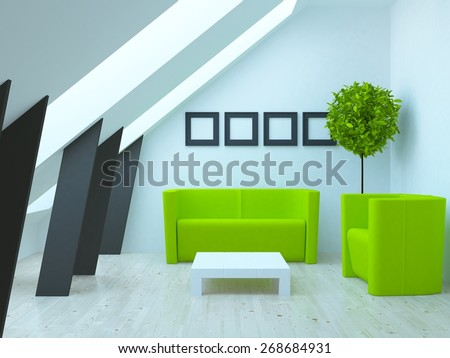 3d rendering of a white living room with green furniture