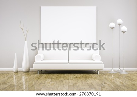 3D rendering of a white room with a sofa - stock photo