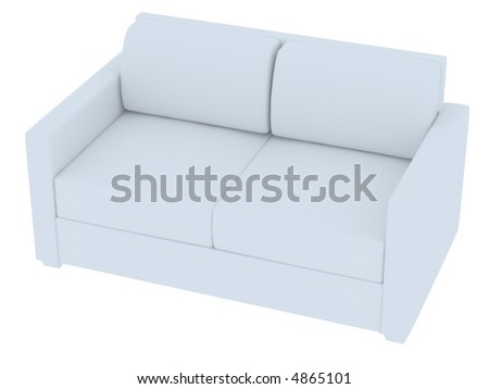 3D rendering of a white sofa isolated