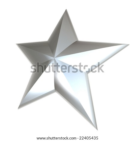 3D rendering of a white star with a pearl texture