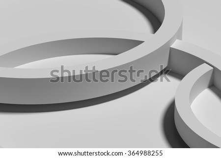 3d rendering of a white three-dimensional circles on white background.From above - stock photo