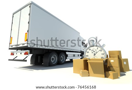 3D rendering of a white truck, a pile of boxes and a chronometer - stock photo