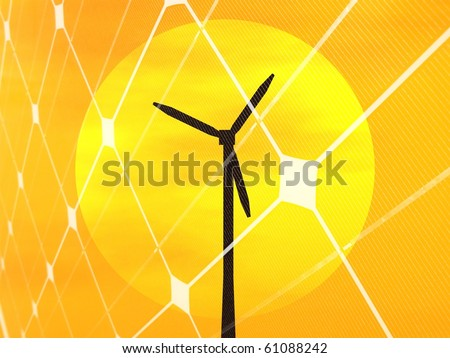 3D rendering of a wind turbine at sunset with photovoltaic panel - stock photo