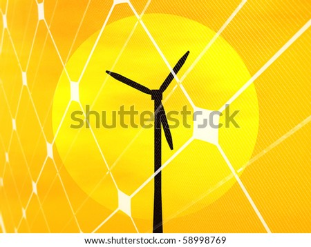 3D rendering of a wind turbine in front of the sun disc at sunset - stock photo