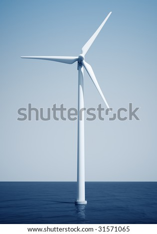 3d rendering of a windturbine on the ocean - stock photo