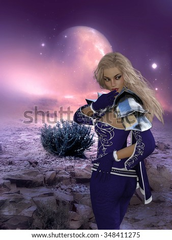 3D rendering of a woman on a fantasy, sci-fi background.