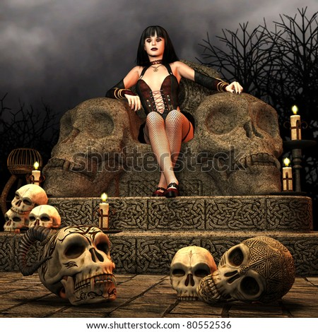 3D rendering of a woman on a Gothic thrombin with candles and skulls - stock photo