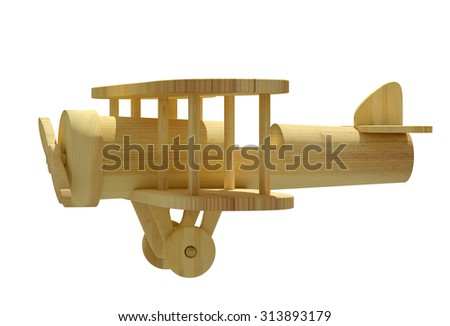3d rendering of a wooden airplane on a white background