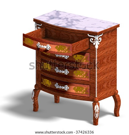 3D Rendering Of A Wooden Commode With Drawers Of Louis XV. With Clipping  Path And