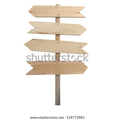 3D rendering of a wooden directional sign - stock photo