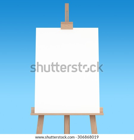 3d rendering of a wooden easel with blue background