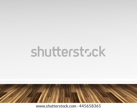 3D rendering of a wooden floor against a white wall
