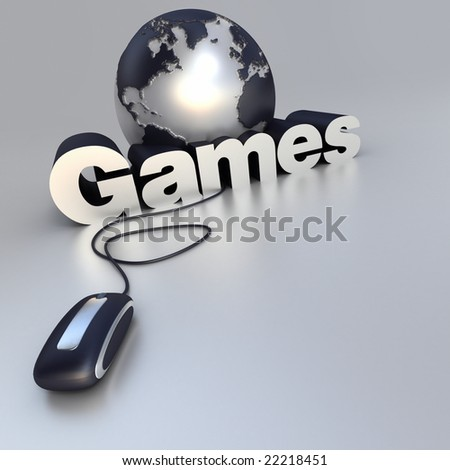 3D-rendering of a world globe, a computer mouse and the word career in blue and silver
