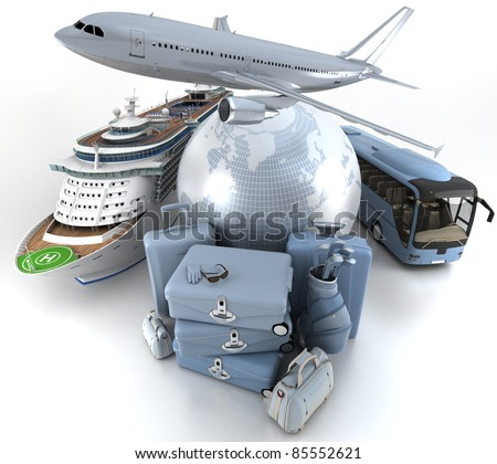 3D rendering of a world globe, an airplane, a cruise ship and a coach bus with a high key pile of luggage - stock photo