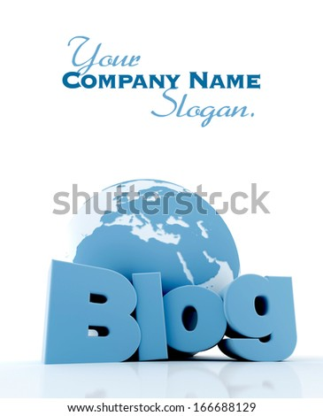 3D-rendering of a world globe and the word blog in blue and white  - stock photo