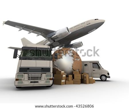 3D rendering of  a world map, packages a van, a truck and an airplane - stock photo