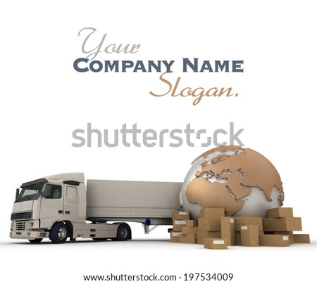 3D rendering of a world map, packages and a truck   - stock photo
