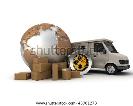 3D rendering of a world map with packages, a chronometer and a delivery van - stock photo