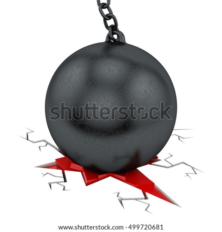 3d rendering of a wrecking ball wrecking the ground, isolated on white