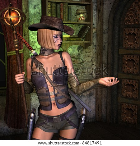 3D rendering of a young female treasure hunter - stock photo