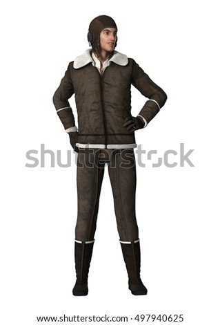 3D rendering of a young vintage aviator isolated on white background