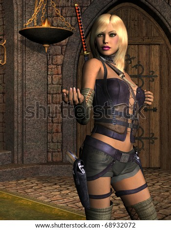 3D rendering of a young woman armed with swords and Colt - stock photo