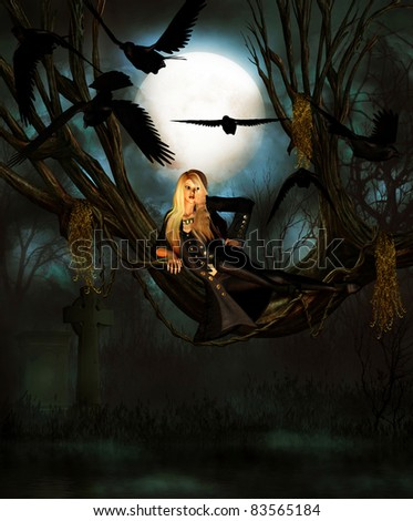 3d rendering of a young woman in a tree surrounded by ravens as illustration