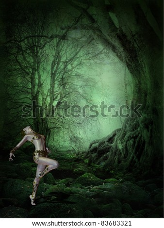 3d rendering of a young woman who dances in the dark, mystical forest as illustration - stock photo