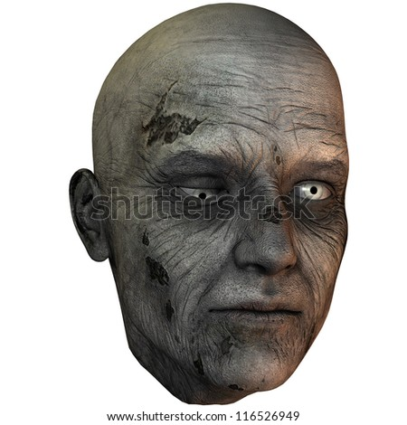 3D rendering of a zombie head - stock photo