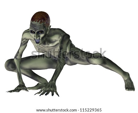 3d rendering of a zombie in the squat as illustration - stock photo