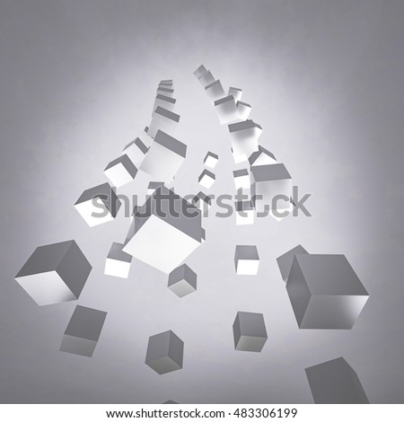 3D rendering of abstract  cube geometric background