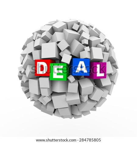 3d rendering of abstract cubes boxes sphere ball of word text deal - stock photo