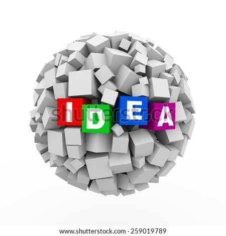 3d rendering of abstract cubes boxes sphere ball of word text idea - stock photo