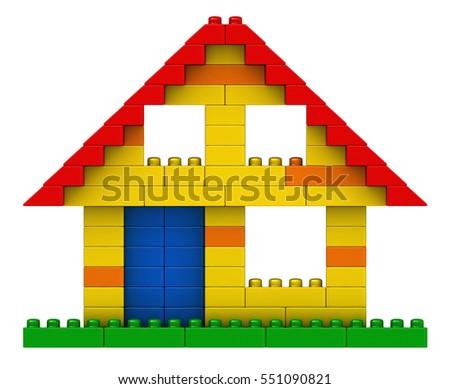 3d rendering of abstract house from plastic building blocks isolated over white background
