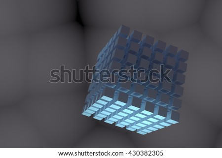 3D rendering of Abstract metallic 3d cubes grid