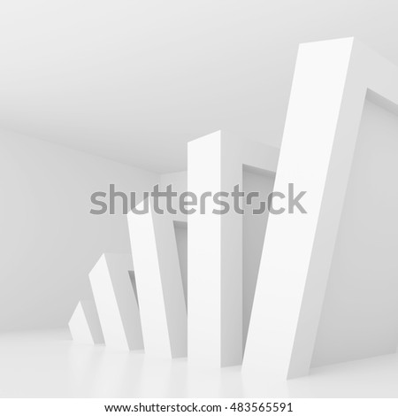 3d Rendering of Abstract Minimal Gallery Interior.  Modern Architecture Background. White Room Design