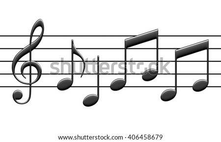 3d rendering of abstract music notes isolated on white background - stock photo