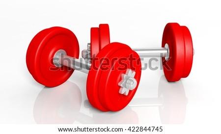 3D rendering of adjustable metallic red dumbbells, on white background  - stock photo