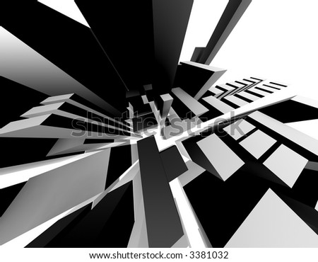 3D-Rendering of an abstract city. Interesting perspective. - stock photo