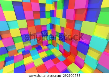 3d rendering of an abstract composition with cubes of a lot of colors