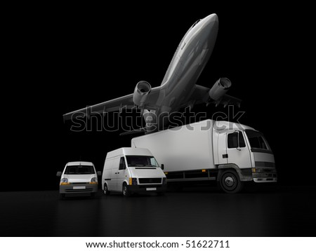 3D rendering of an airplane, a truck, a van and a lorry against a black background - stock photo