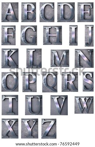 3D rendering of an alphabet in metallic typescript print letter cases (upper-case) - stock photo