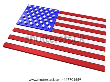 3D rendering of an American flag in relief against white