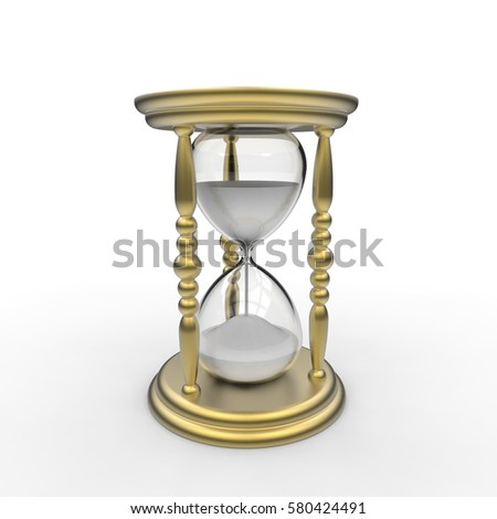 3D rendering of an antique egg timer hourglass in a gold frame on a white background